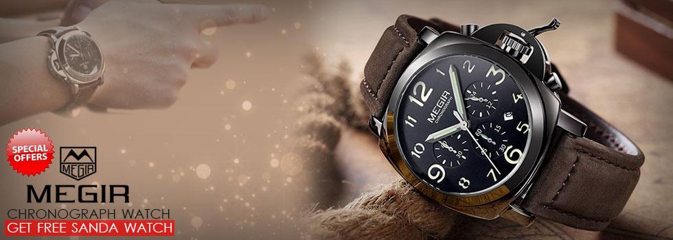 Megir Relogio Chronograph Watch & GET Free SANDA WATCH
