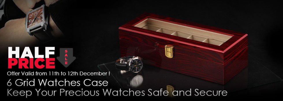 Luxury Classic Leather Watch Case With 6 Grids