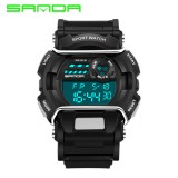 Original SANDA Fashion Men's Waterproof 3ATM 30m Dive LED Digital Analog Quartz watch