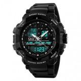 Original Q&Q by Citizen Japan 86j004y Black Men's Dual Time Quartz Chronograph Wrist Watch