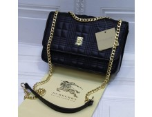 BURBERRY (New 2021 Logo) Crossbody Bag with Long Chain and Leather Strap on Top