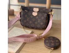 Loius Vuitton Mercer Medium Pebbled Leather Belted Satchel