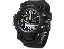 Original SANDA Military Grade Waterproof 3ATM 30m Dive LED Digital Analog Quartz World TIme Watch (Black)