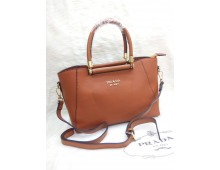 Prada Mercer Medium Pebbled Leather Belted Satchel