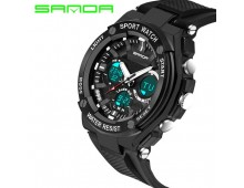 Original SANDA Fashion Dual Time Men's Waterproof 3ATM 30m Dive Chrono Watch