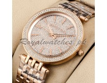 MICHAEL KORS Oversized Layton Pavé Rose Gold-Tone Watch
