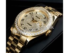 Rolex Yellow Gold President Day Date Full Diamonds Exclusive Watches AAA+