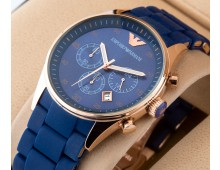Emporio Armani Chronograph Blue Silicone Watch