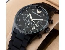 Emporio Armani Chronograph Black Silicone Watch