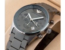 Emporio Armani Chronograph Black Silicone Watch