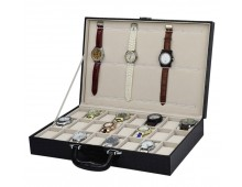 Luxury Classic Leather Watch Case with 18 Grids