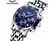 GUANQIN LUXURY Business Mens Silver Steel Exclusive Quartz-Chronograph Watch