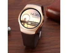 Kingwear KW18 Smartwatch Phone - CHAMPAGNE GOLD and Brown Strap
