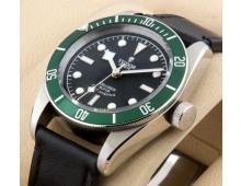 Tudor Geneve chronometer watch Replica Black Leather Green Ceramic AAA+