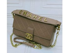 CHANEL Cross Body Bag With Half Chain Half Belt Synthetic Leather Material