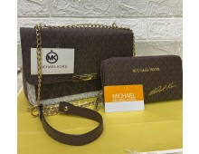 High quality Mk crossbody 2 pcs with wallets and long chain half belt
